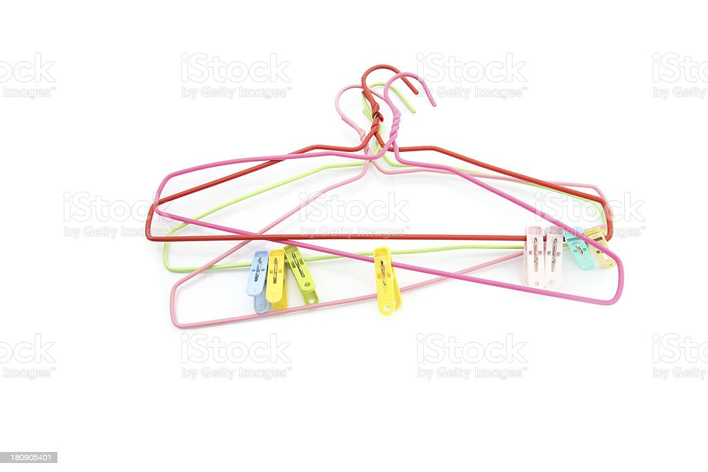 Clothes Hanger and Clamp fabric. royalty-free stock photo