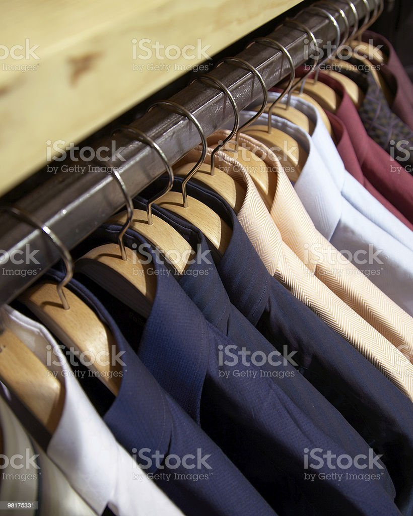 clothes hanger man's shirts royalty-free stock photo
