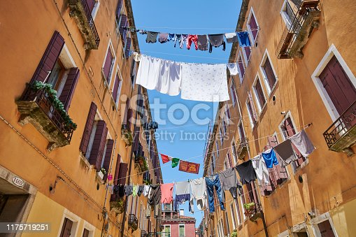 Clothes hanging out to dry in Calle Olivi. Sestiere Castello. Venice. Veneto. Italy.