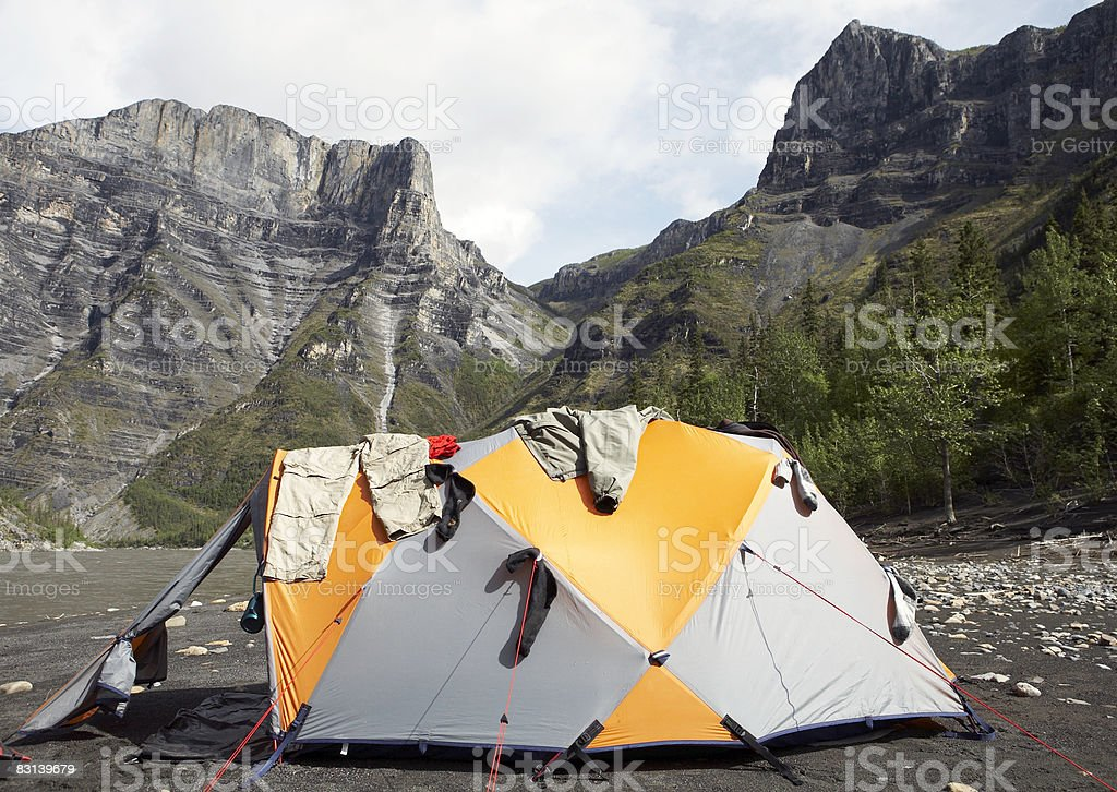 clothes hanging on tent in valley royalty free stockfoto