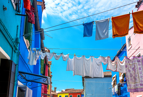 Clothes hanging out to dry, Burano Island, Venice