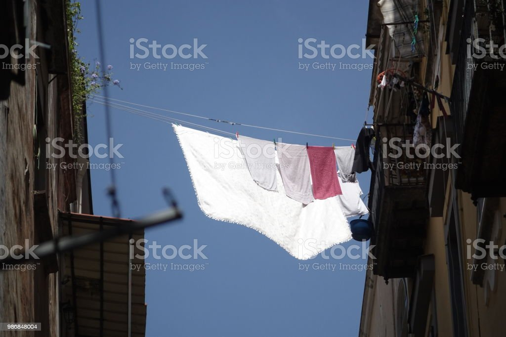 Clothes hanging outdoors - foto stock