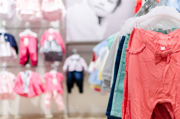clothes in store stock photo