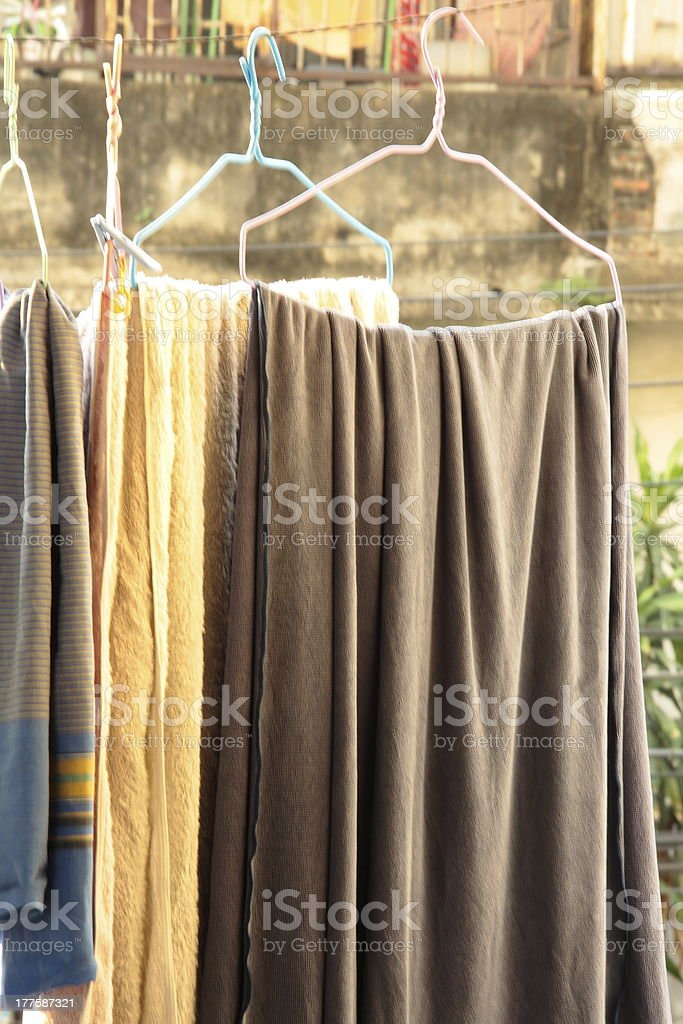 Clothes in the afternoon stock photo