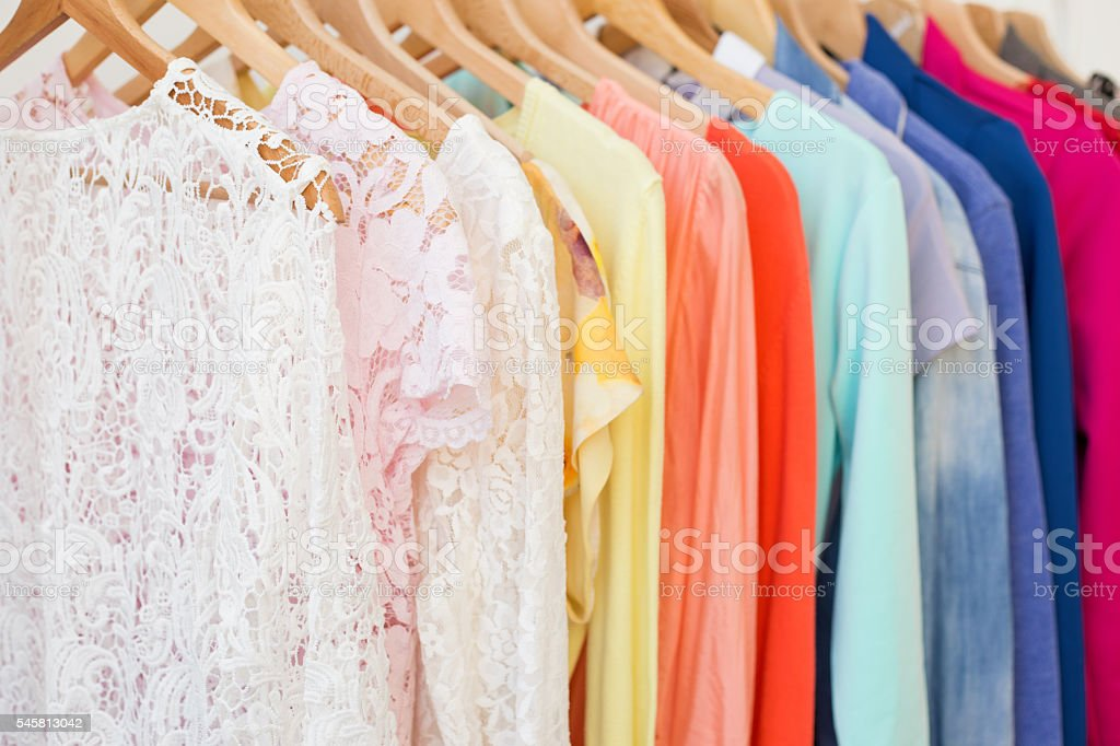 Clothes in the closet stock photo