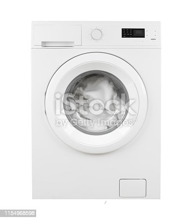 Clothes in washing machine on isolated white background