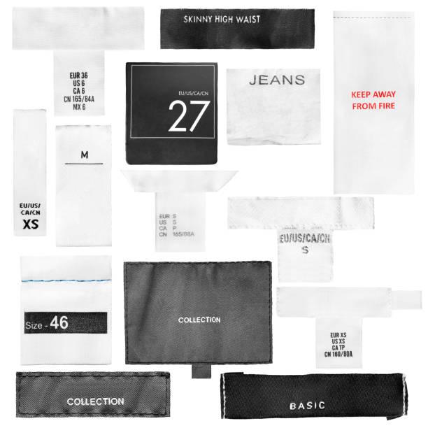 İzole giyim etiketleri stok fotoğrafı