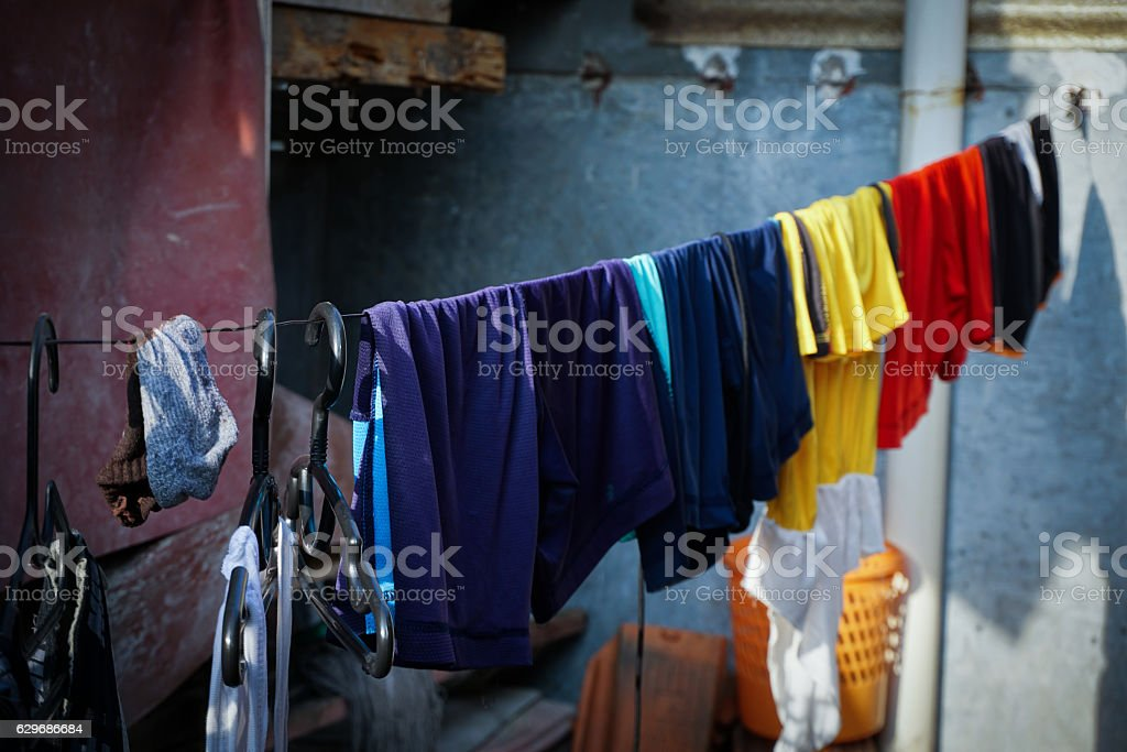 clothes line laundry with lot of  photo taken in depok stock photo