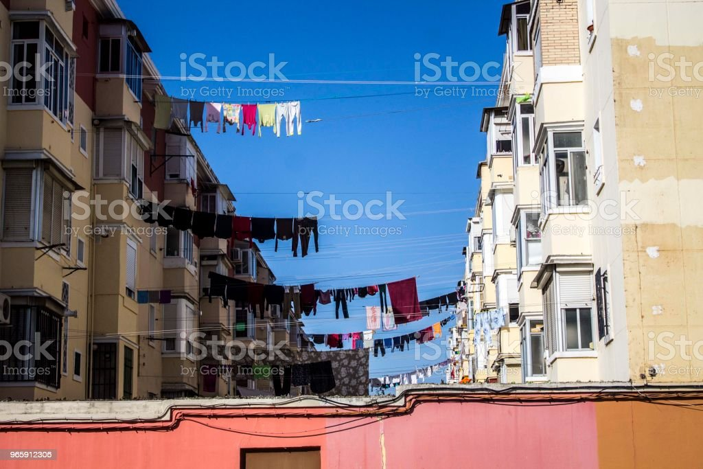 Clothes lines in Sevilla Neighborhood - Royalty-free Apartment Stock Photo