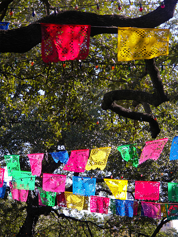 Clothes lines with artistic patterns at Papel Picado