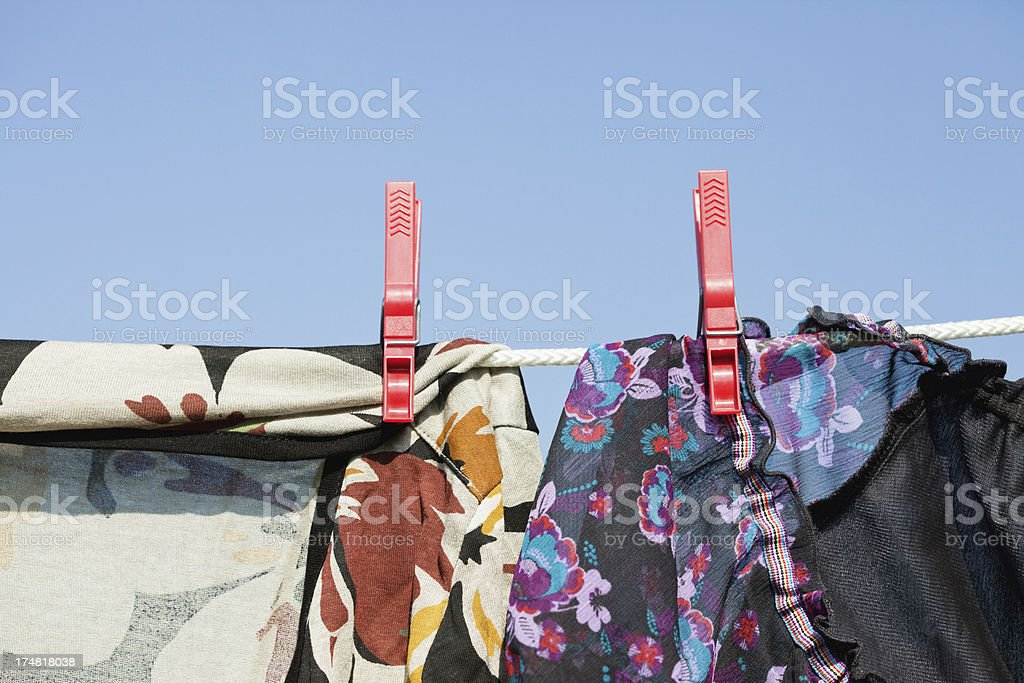 Clothes of a woman on clothesline royalty-free stock photo