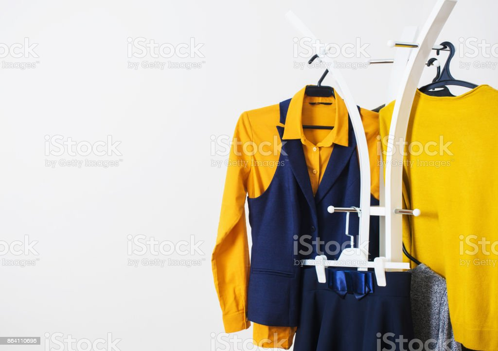 clothes on a hanger on a white background royalty-free stock photo