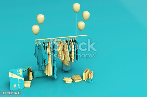 istock Clothes on a hanger surrounding by bag and market prop with credit card on the floor. 3d rendering 1178981496