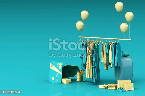 istock Clothes on a hanger surrounding by bag and market prop with credit card on the floor. 3d rendering 1178981504