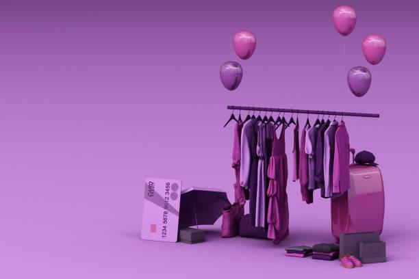 kleidung auf einem kleiderbügel umgeben von tasche und markt requisite mit kreditkarte auf dem boden. 3d-rendering - schuhschrank günstig stock-fotos und bilder