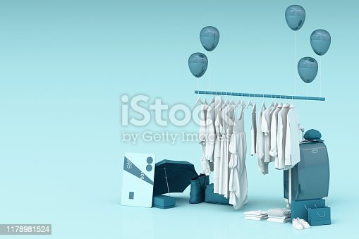 istock Clothes on a hanger surrounding by bag and market prop with credit card on the floor. 3d rendering 1178981524