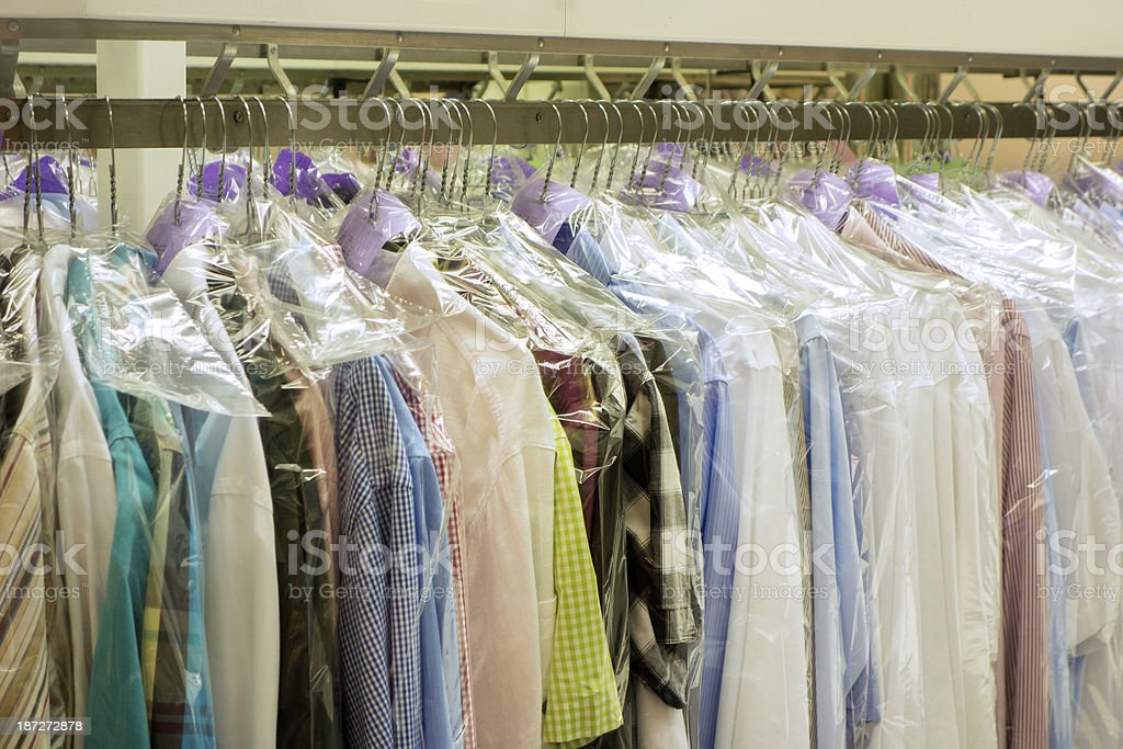 clothes on hanger dry cleaning stock photo