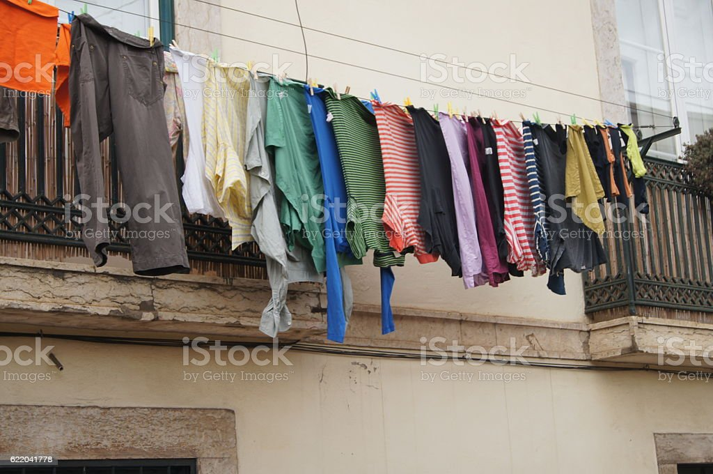 Clothes on line stock photo