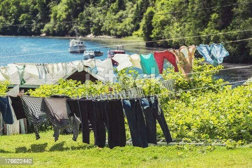 A variety of clothes hung to dry in the tiny outport village of North Bay, Newfoundland.