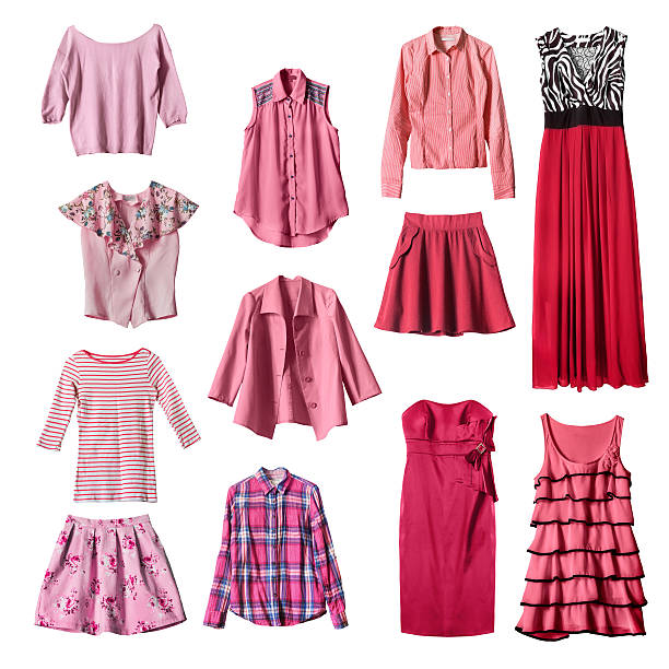 Clothes Set of pink and red female clothes on white background blouse stock pictures, royalty-free photos & images
