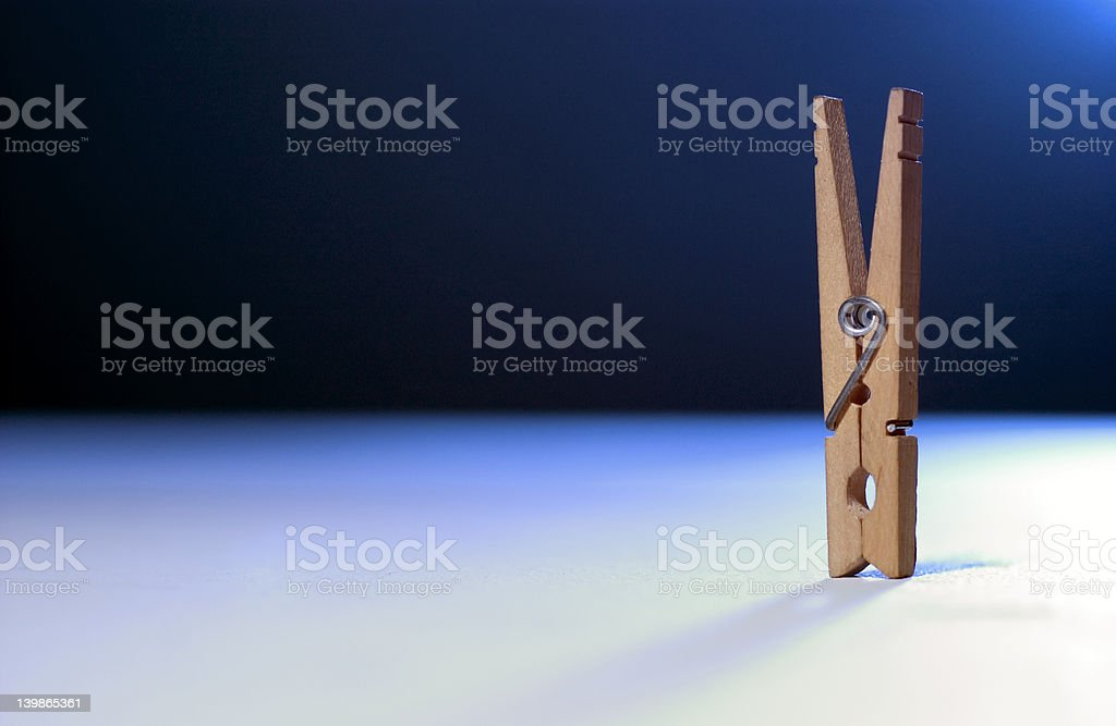 Clothes Pin clothespin With Blue Horizon royalty-free stock photo