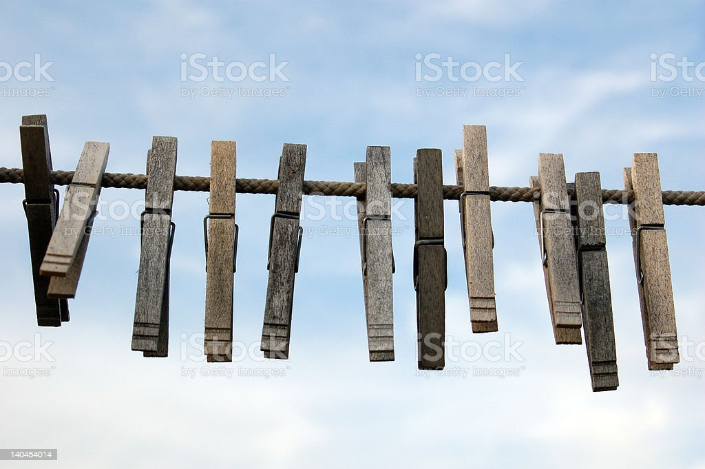 Clothes pins on the line royalty-free stock photo