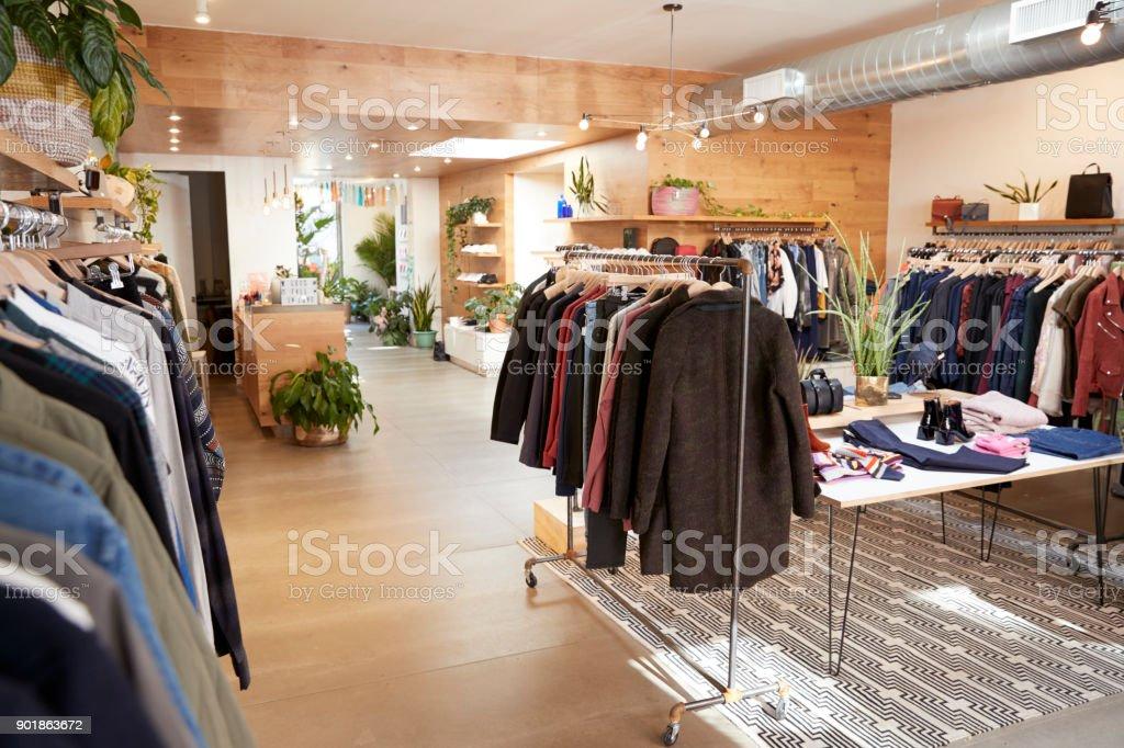 Clothes shop interior stock photo