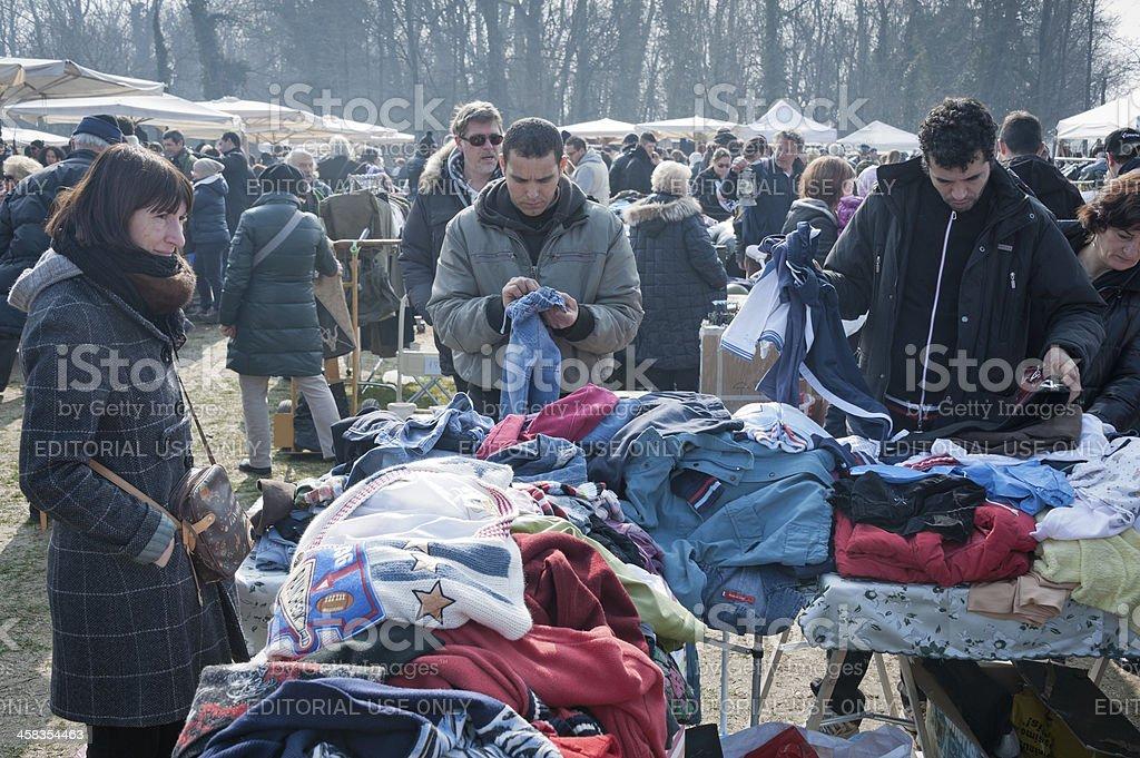 Clothes stall at flea market stock photo
