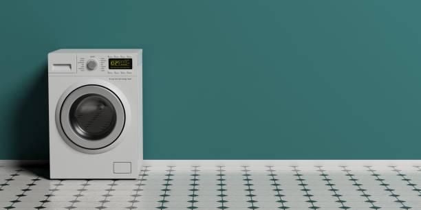 服の洗濯機、タイル張りの床、緑の壁の背景、コピー領域の乾燥機。3 d イラストレーション - 衣類乾燥機 ストックフォトと画像