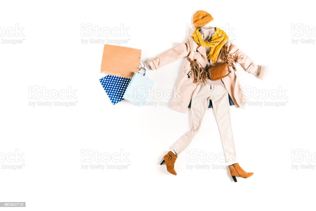clothes with shopping bags stock photo