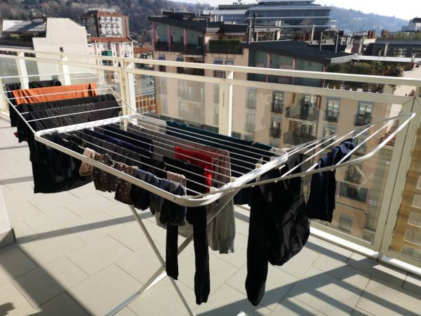 Clotheshorse under the sun stock photo