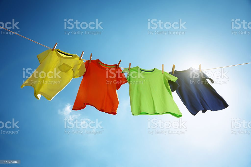 Clothesline and laundry stock photo