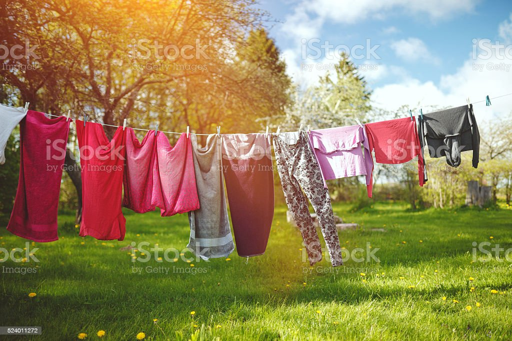 Clothesline stock photo