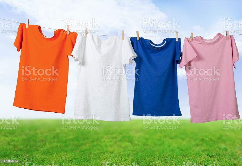 Clothesline, T-Shirt, Hanging stock photo