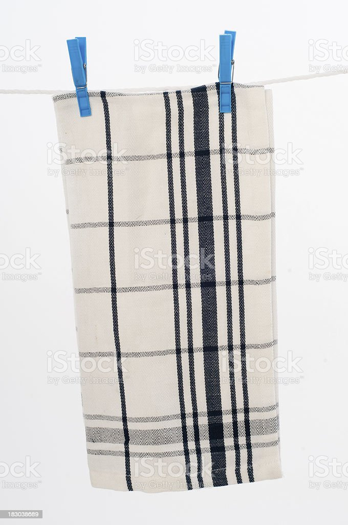 Clothesline with kitchen cloth. stock photo