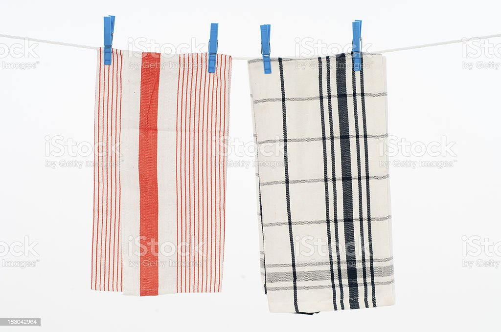 Clothesline with kitchen cloths. stock photo