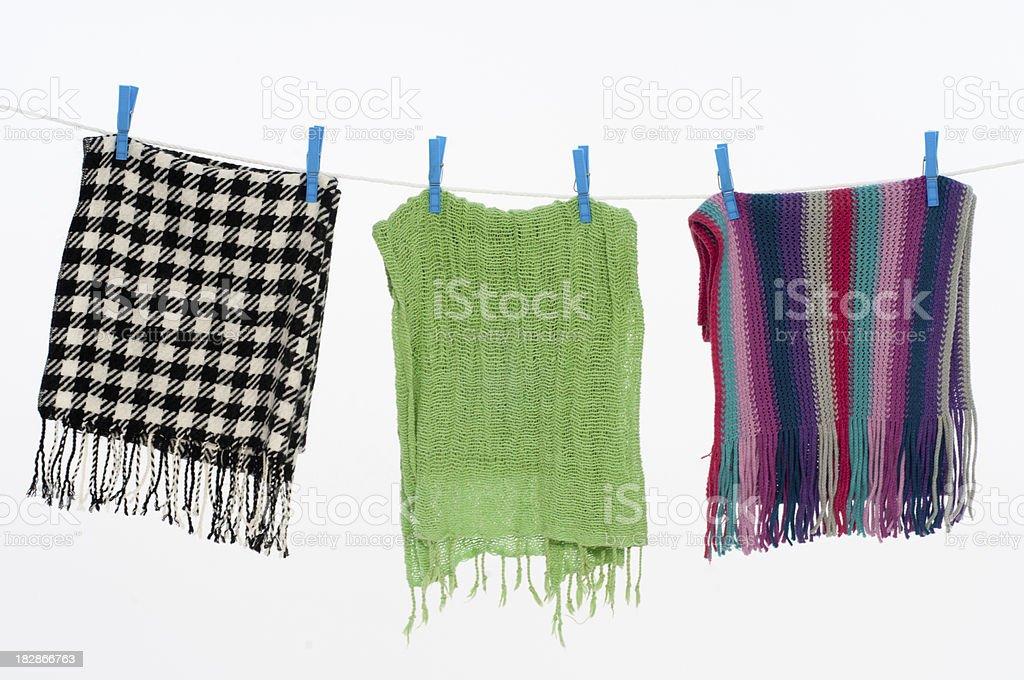 Clothesline with scarfs stock photo