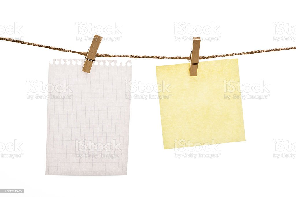Clothespin and notes royalty-free stock photo