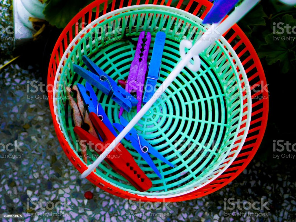 Clothespin basket stock photo