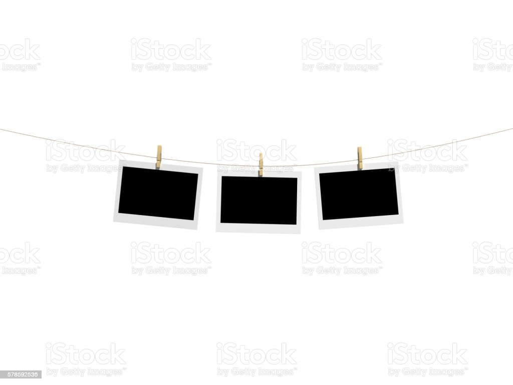 clothespin clamp Instant Print Transfer with front view stock photo