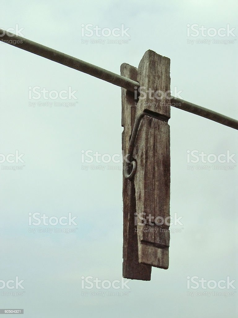 clothespin on the line royalty-free stock photo