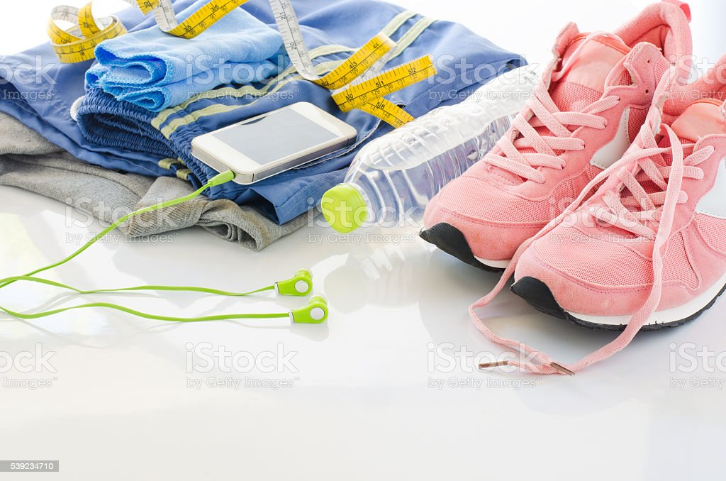Clothing accessories for the fitness  on white background royalty-free stock photo