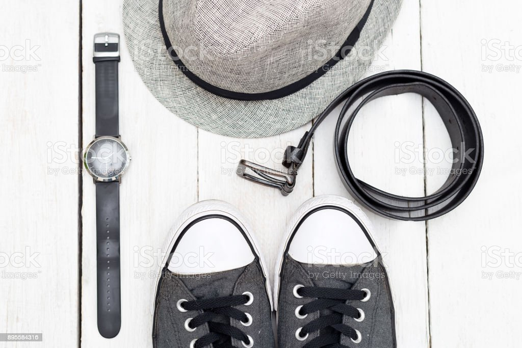 Clothing and accessories for mens . Flat lay stock photo