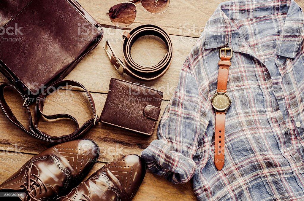 Clothing and accessories for mens - tone vintage foto de stock libre de derechos