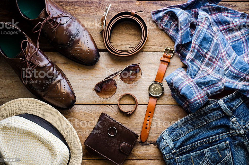 Clothing and accessories for mens - tone vintage foto de stock libre de derechos