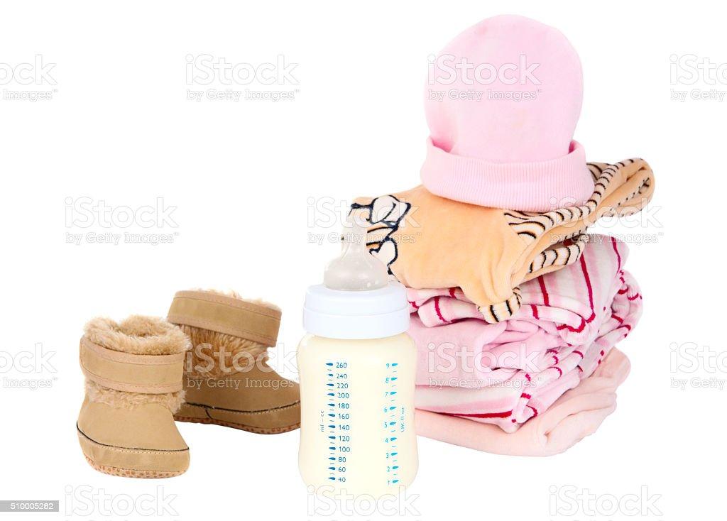 clothing and baby milk bottle stock photo