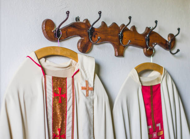clothing and vestments of the priest for the Holy Mass stock photo