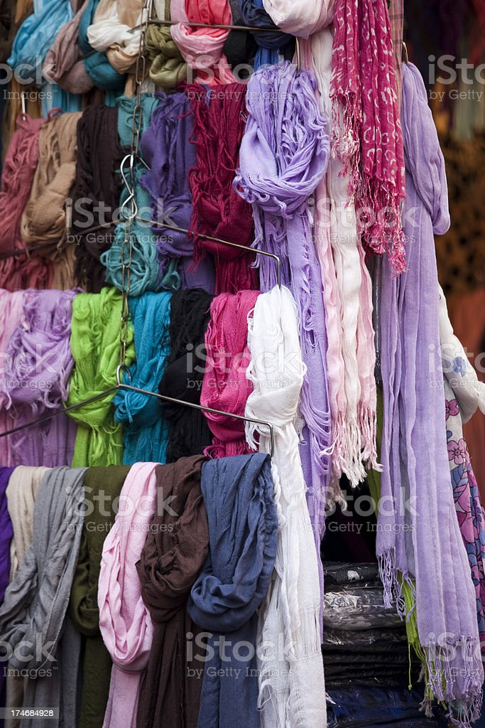 Clothing at an outdoor flea market street stall royalty-free stock photo
