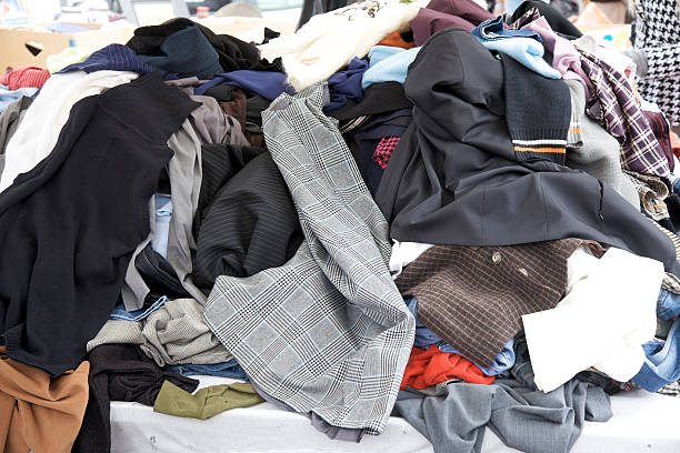Clothing at market sale stock photo