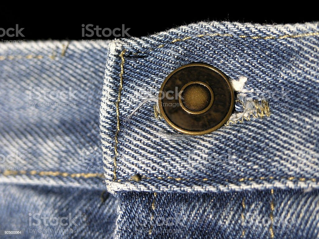 Clothing Detail, Denim Blue Jeans Waist Button royalty-free stock photo